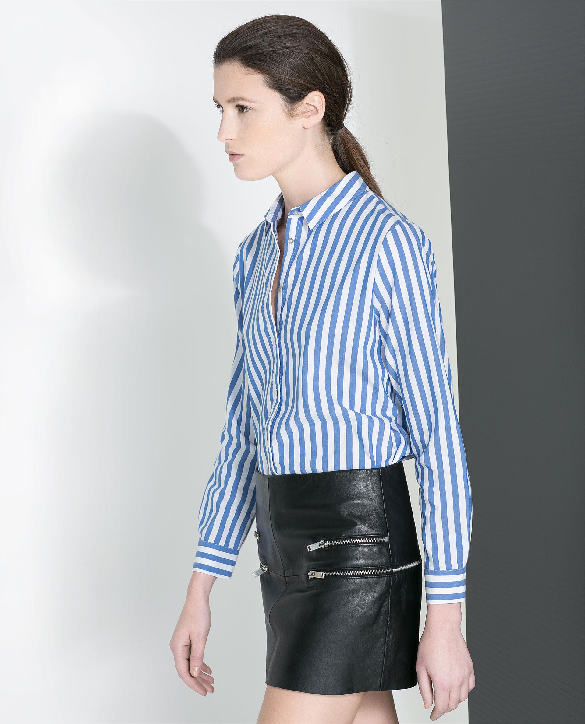 Zara Striped Shirt In Blue Lyst