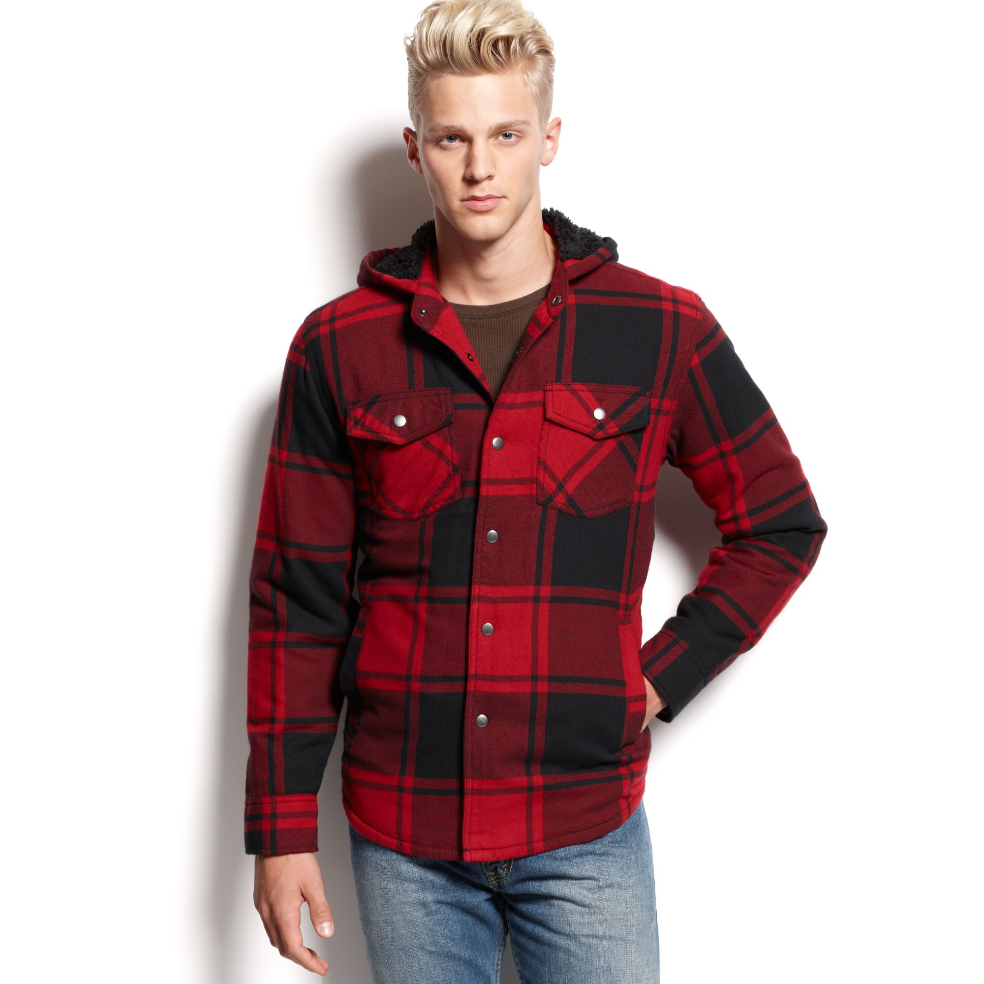 American rag plaid shirt jacket in red for men lyst for Plaid shirt jacket mens