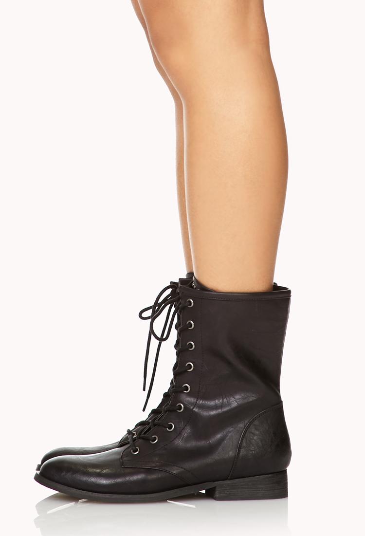 Forever 21 Secret Rebel Combat Boots In Black Lyst