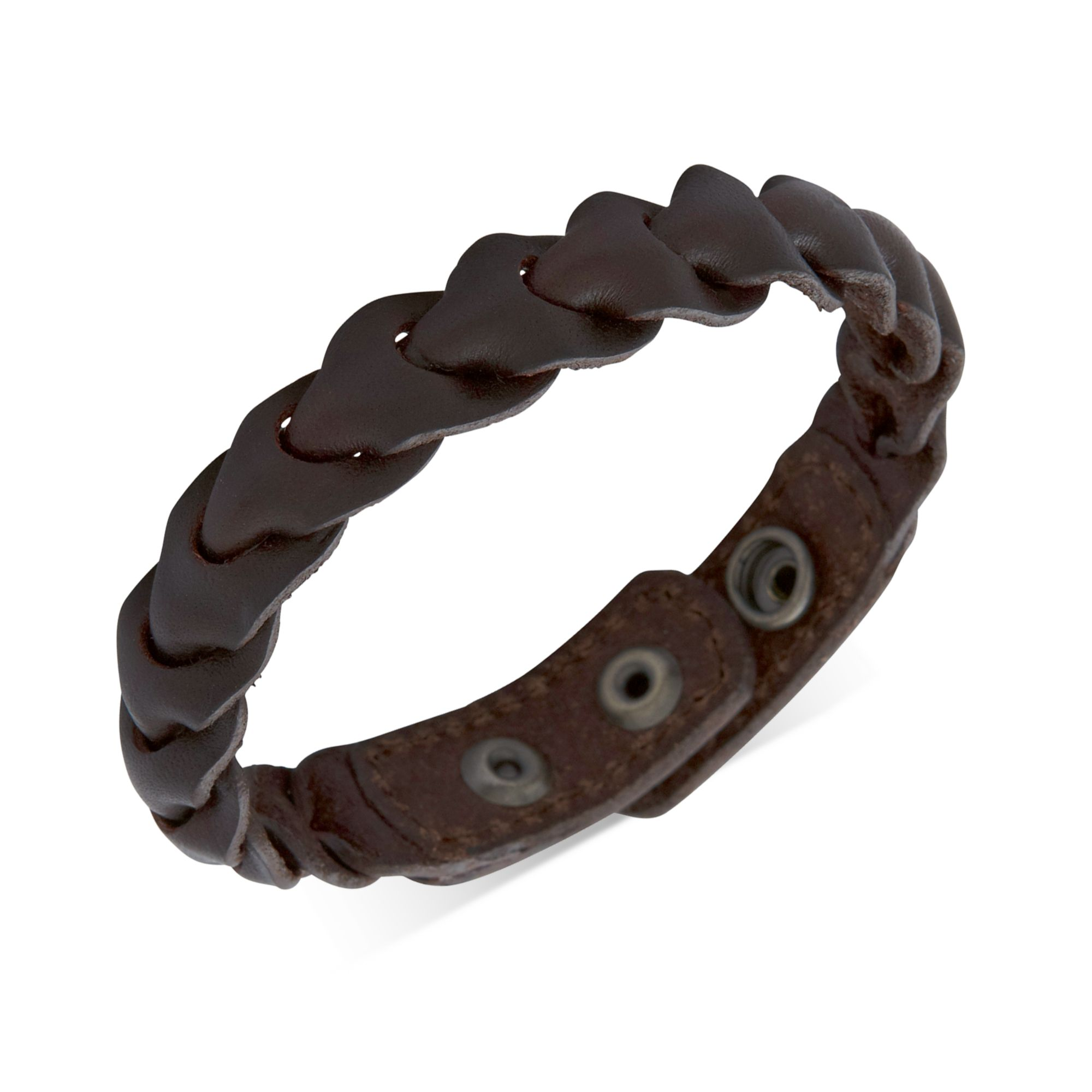 Br And Brown Leather Braided Wrap Bracelet