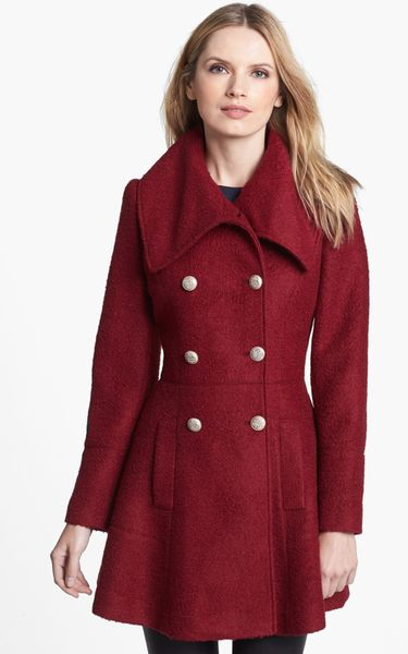 Guess Double Breasted Boucl 233 Coat In Red Burgundy Lyst