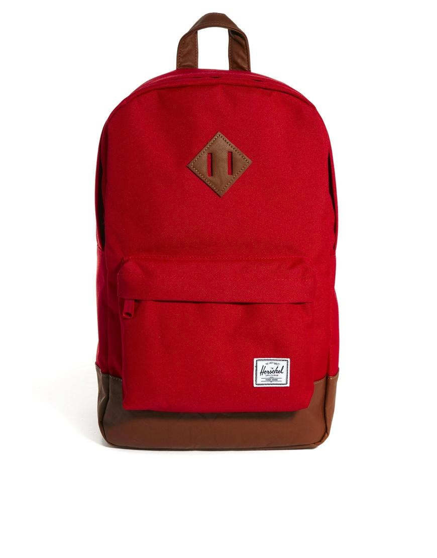 74a19c6b956 Lyst - ASOS Herschel Heritage Mid Volume Backpack in Red