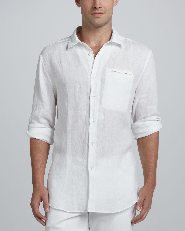 Lyst john varvatos linen sport shirt white in black for men for White linen dress shirt