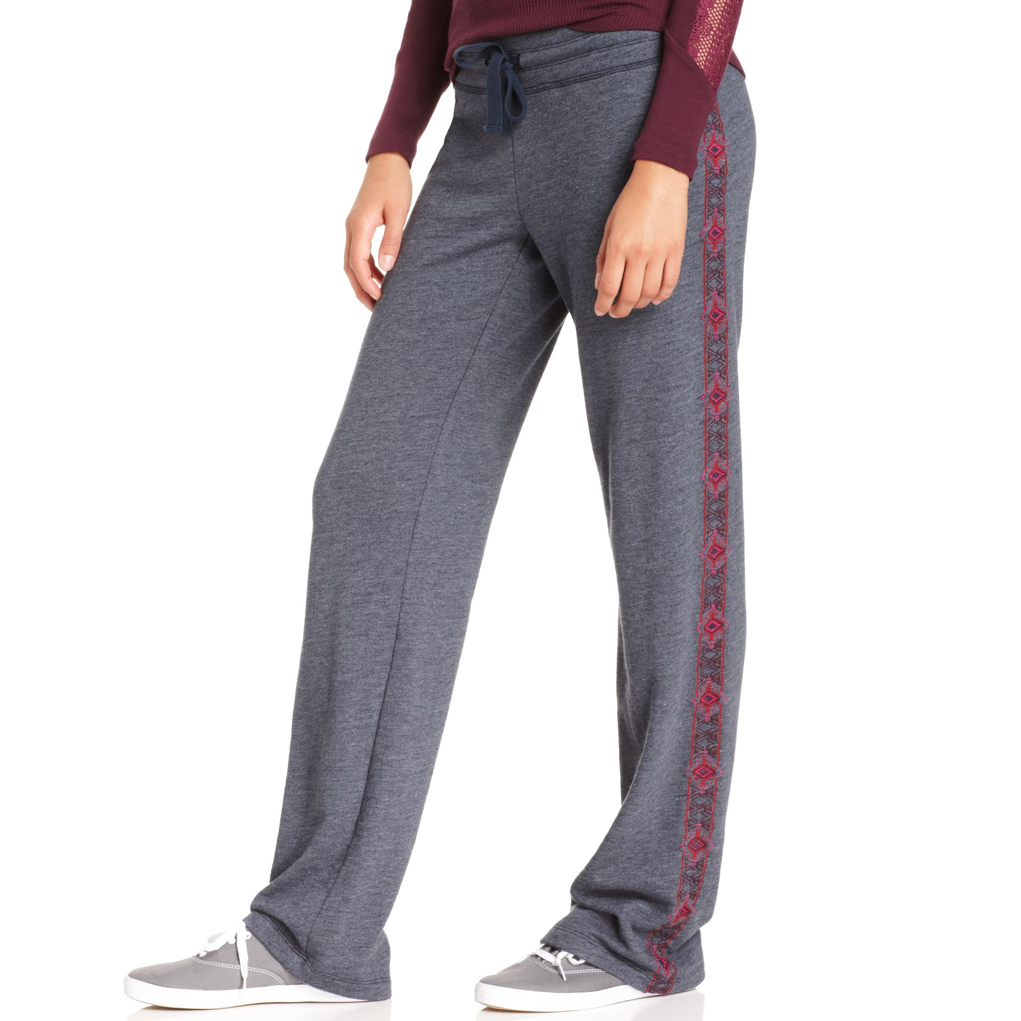 Lyst lucky brand straightleg embroidered sweatpants in gray
