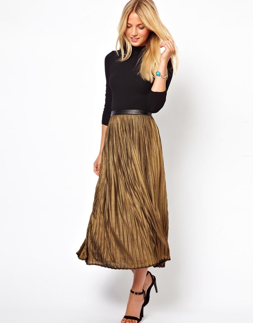 traffic metallic pleated midi skirt in gold