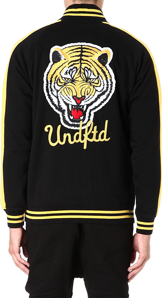 Undefeated Tiger Fleece Varsity Jacket in Black for Men