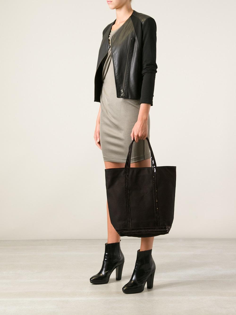 Vanessa Bruno Canvas Glitter Tote Bag in Black