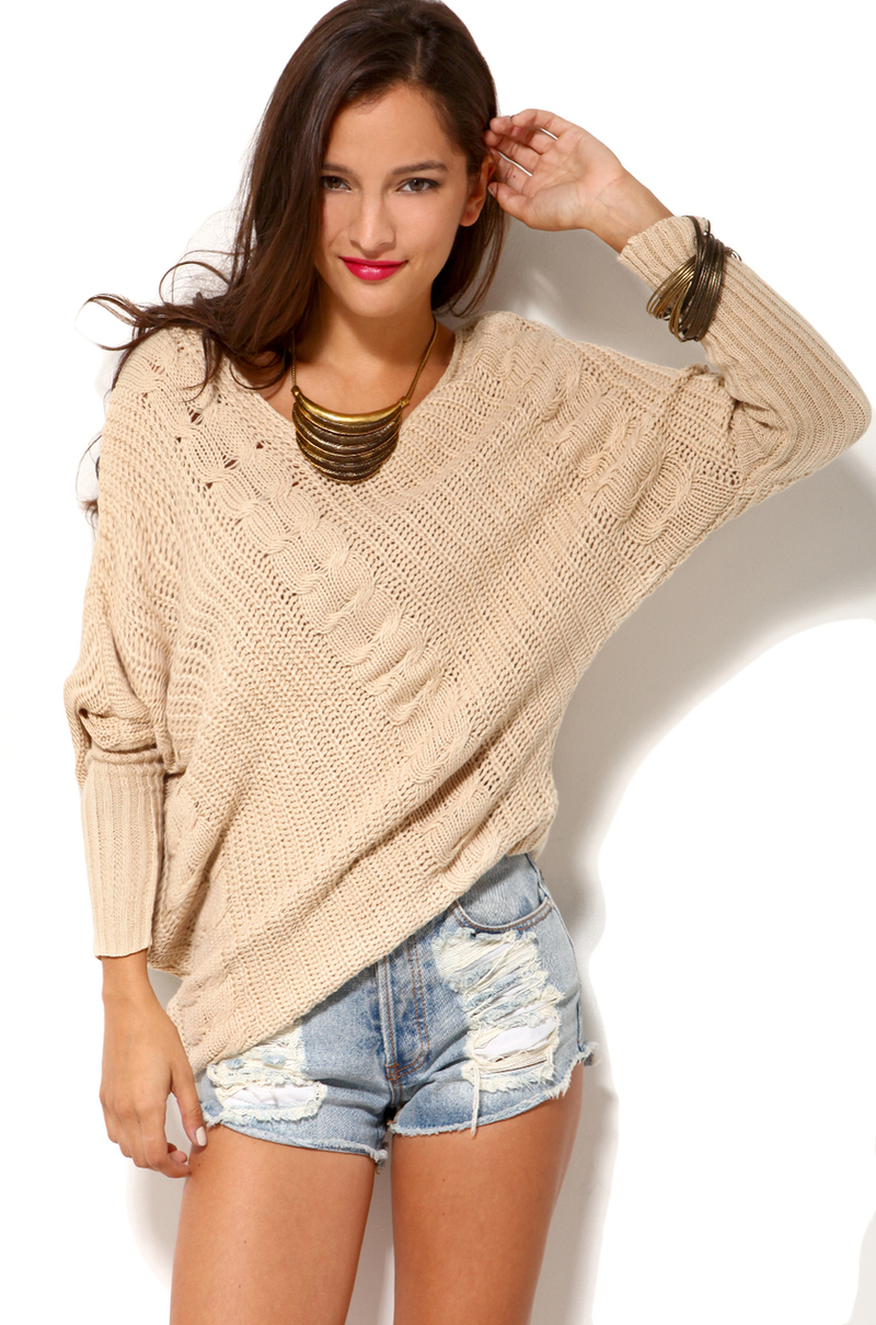 Lyst Akira Off Shoulder Cable Knit Sweater In Ivory In White