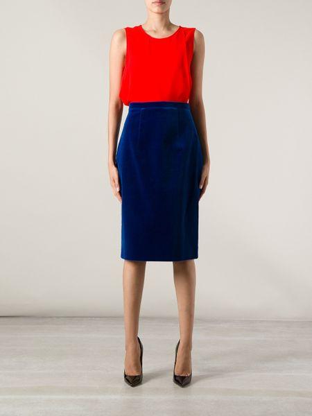 christopher velvet pencil skirt in blue lyst