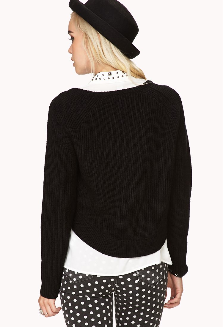 Forever 21 Bold High-low Cropped Sweater in Black | Lyst