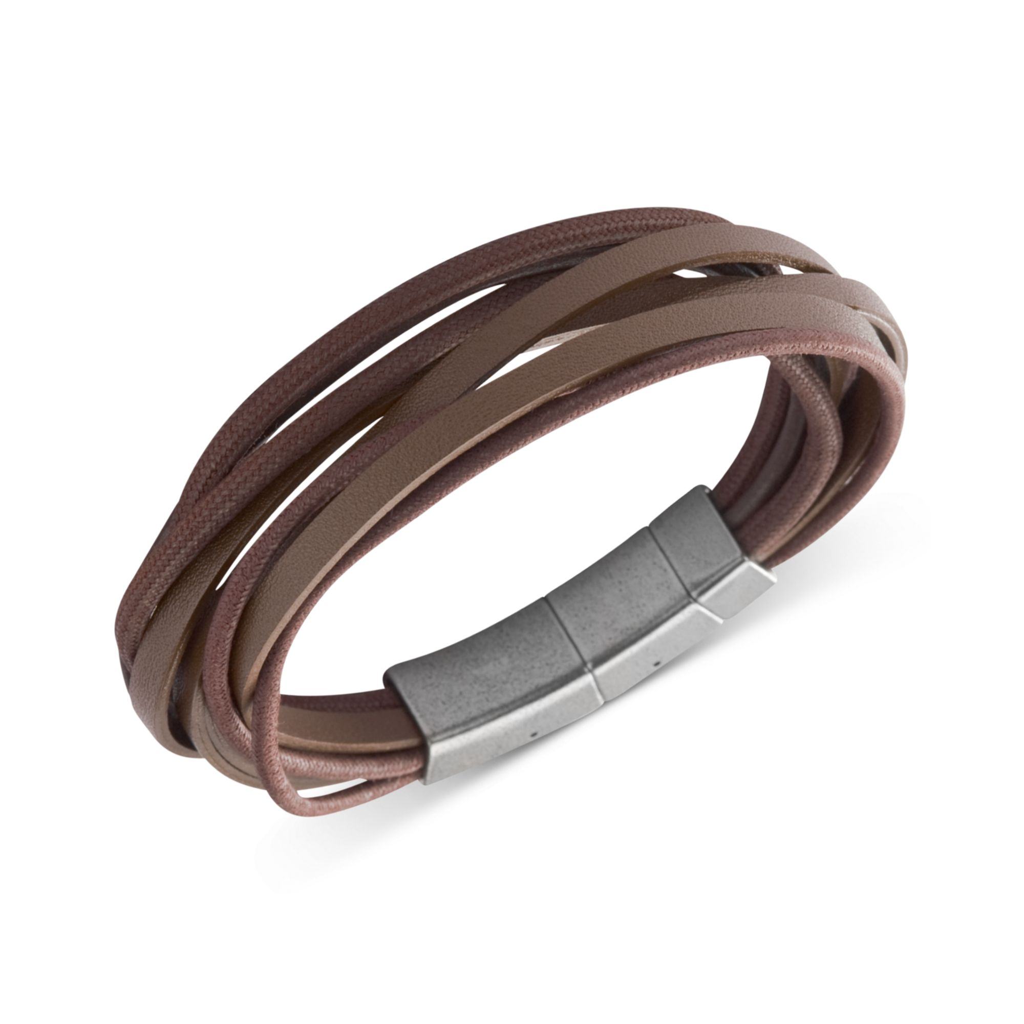 Stainless Steel Brown Leather Multistrand Wrap Bracelet