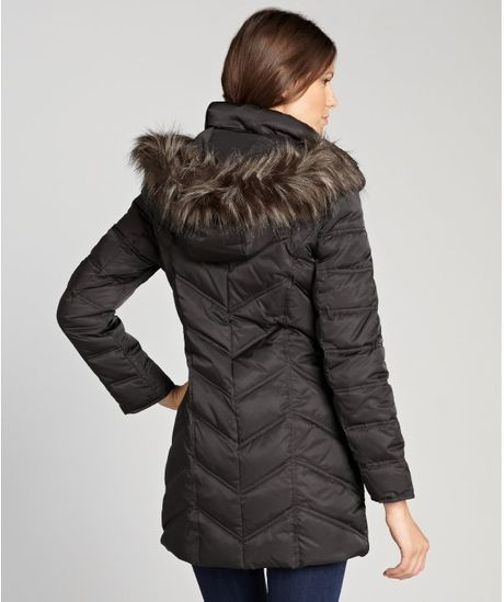 Kenneth Cole Black Quilted Faux Fur Trimmed Optional Hood