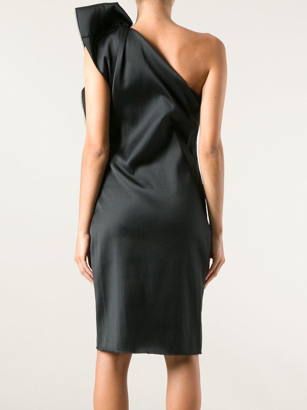 Lyst Lanvin One Shoulder Ruffle Dress In Black