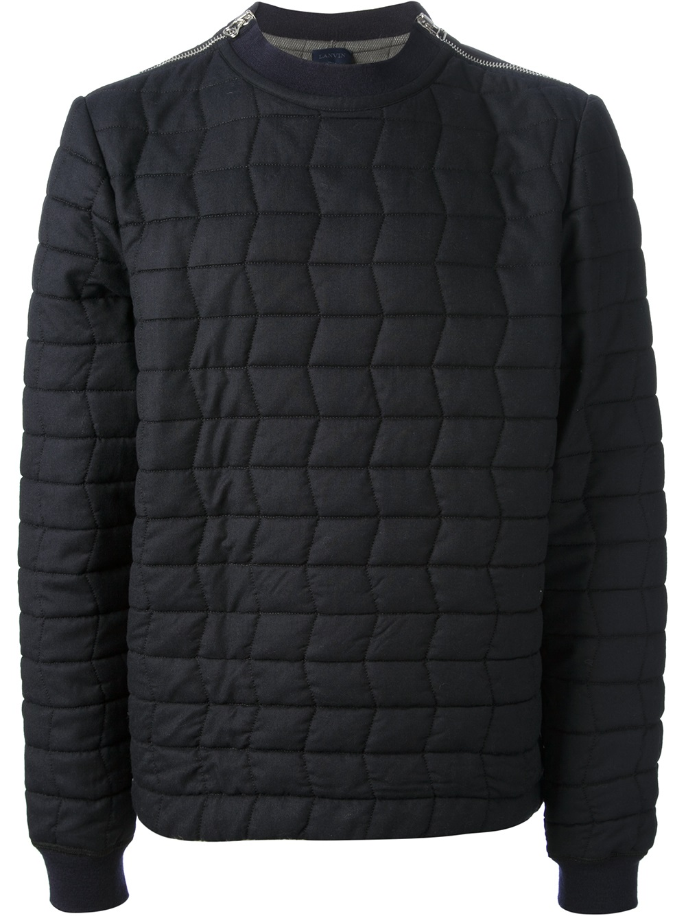 Lyst Lanvin Quilted Sweater In Blue For Men