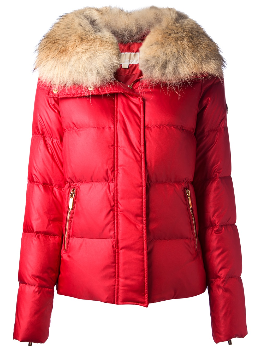 Michael michael kors Fur Collar Padded Jacket in Red   Lyst