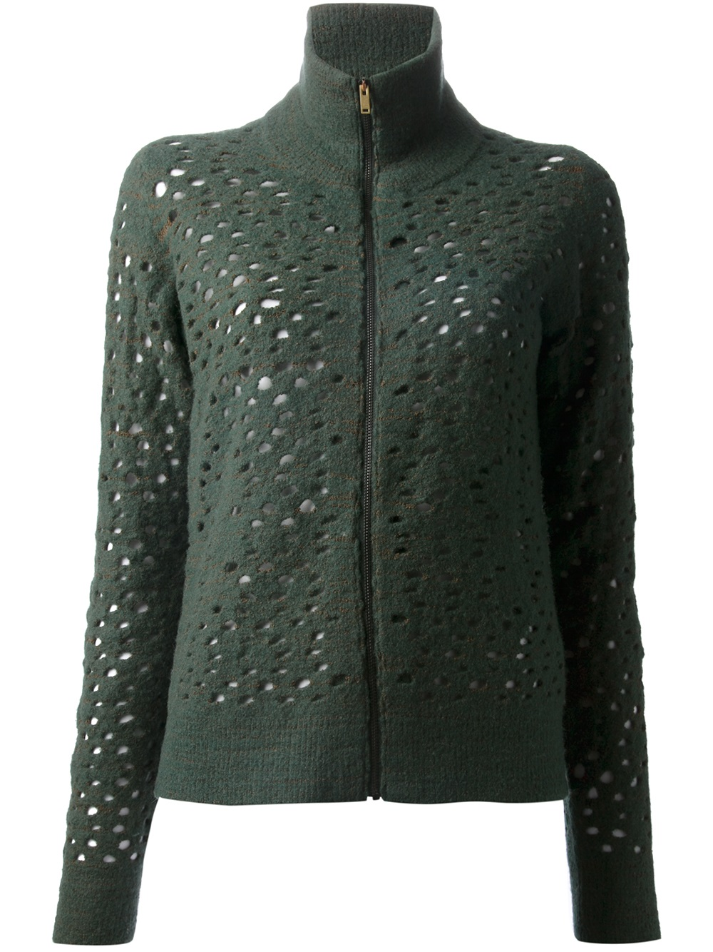 Lyst mm6 by maison martin margiela cutout cardigan in green for Mm6 maison margiela