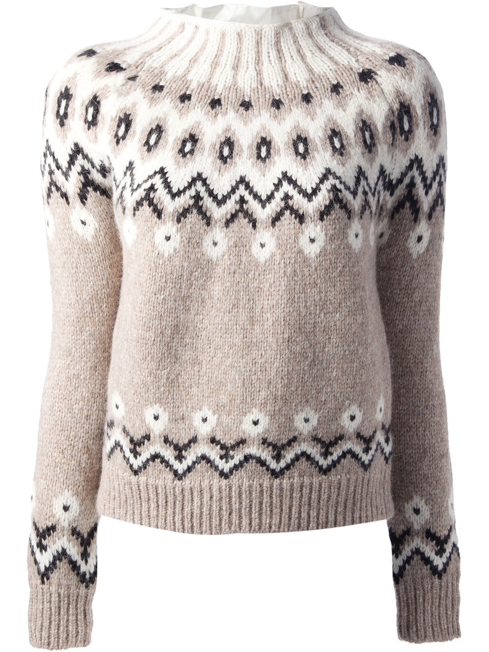 Moncler Fair Isle Knit Sweater in Natural | Lyst