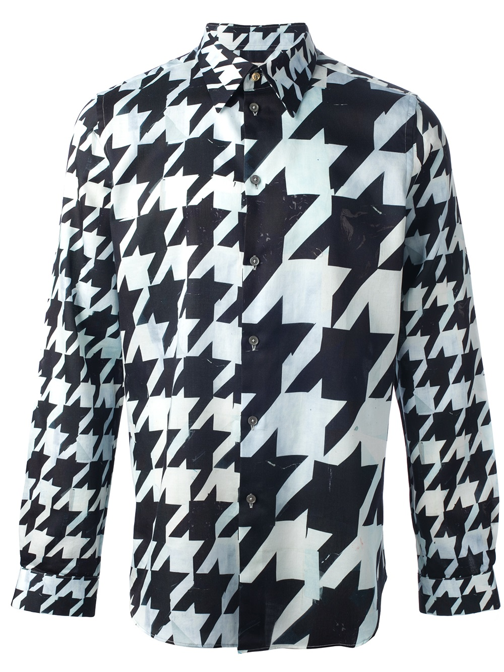 Lyst Paul Smith Houndstooth Shirt In Black For Men