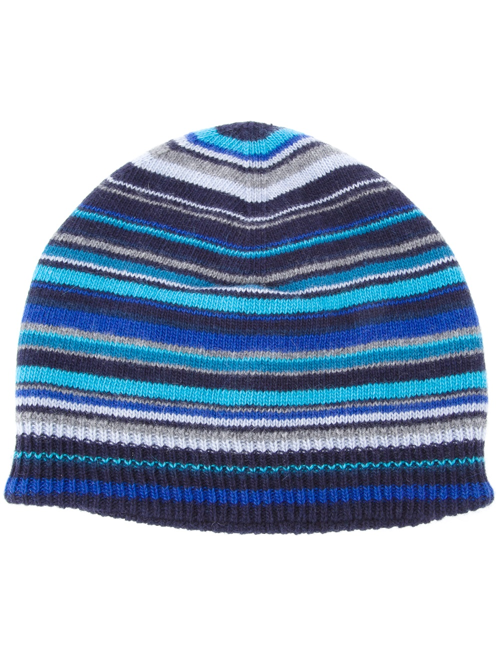 5f9be128945fb Paul Smith Striped Beanie Hat in Blue for Men - Lyst