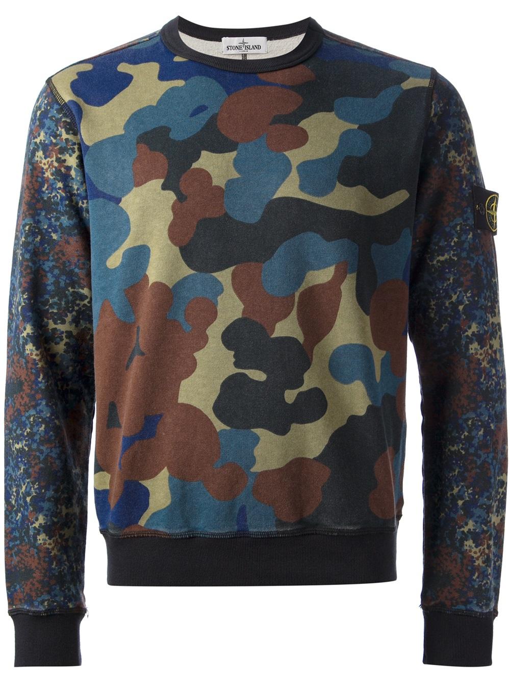 Stone island Logo Patch Sweatshirt in Multicolor for Men (PINK\/PURPLE ...