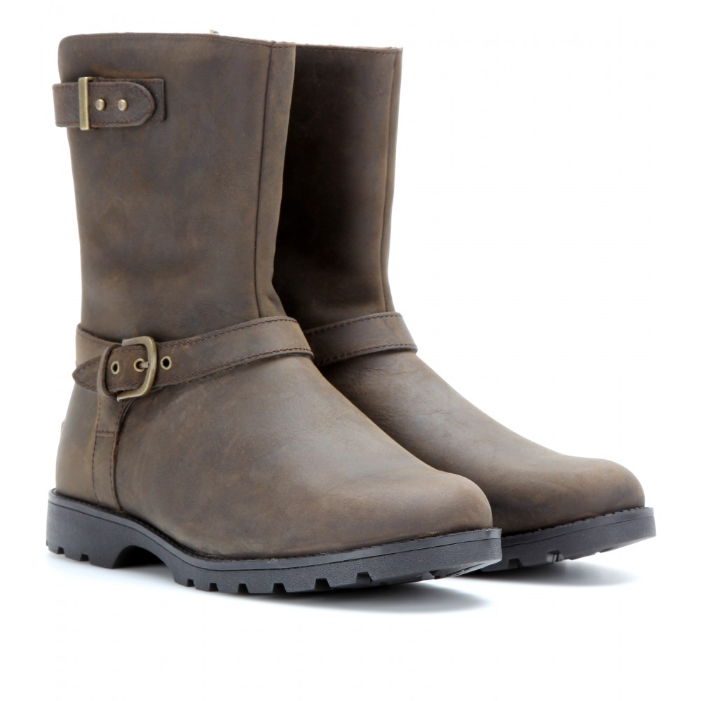Ugg Grandle Leather Biker Boots With Shearling Lining In