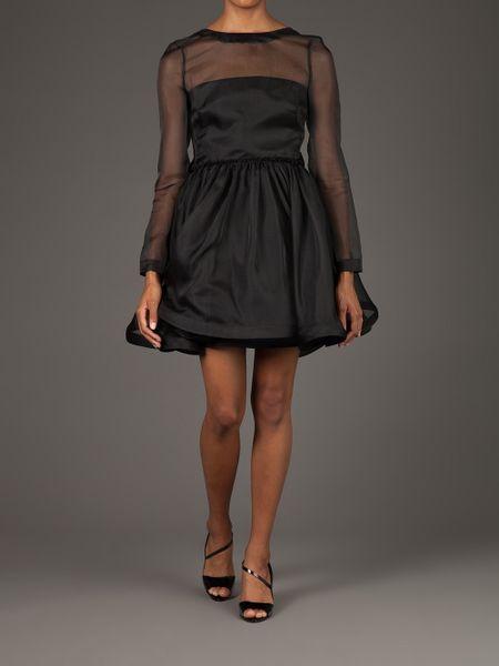Valentino Sheer Flared Dress In Transparent Black Lyst
