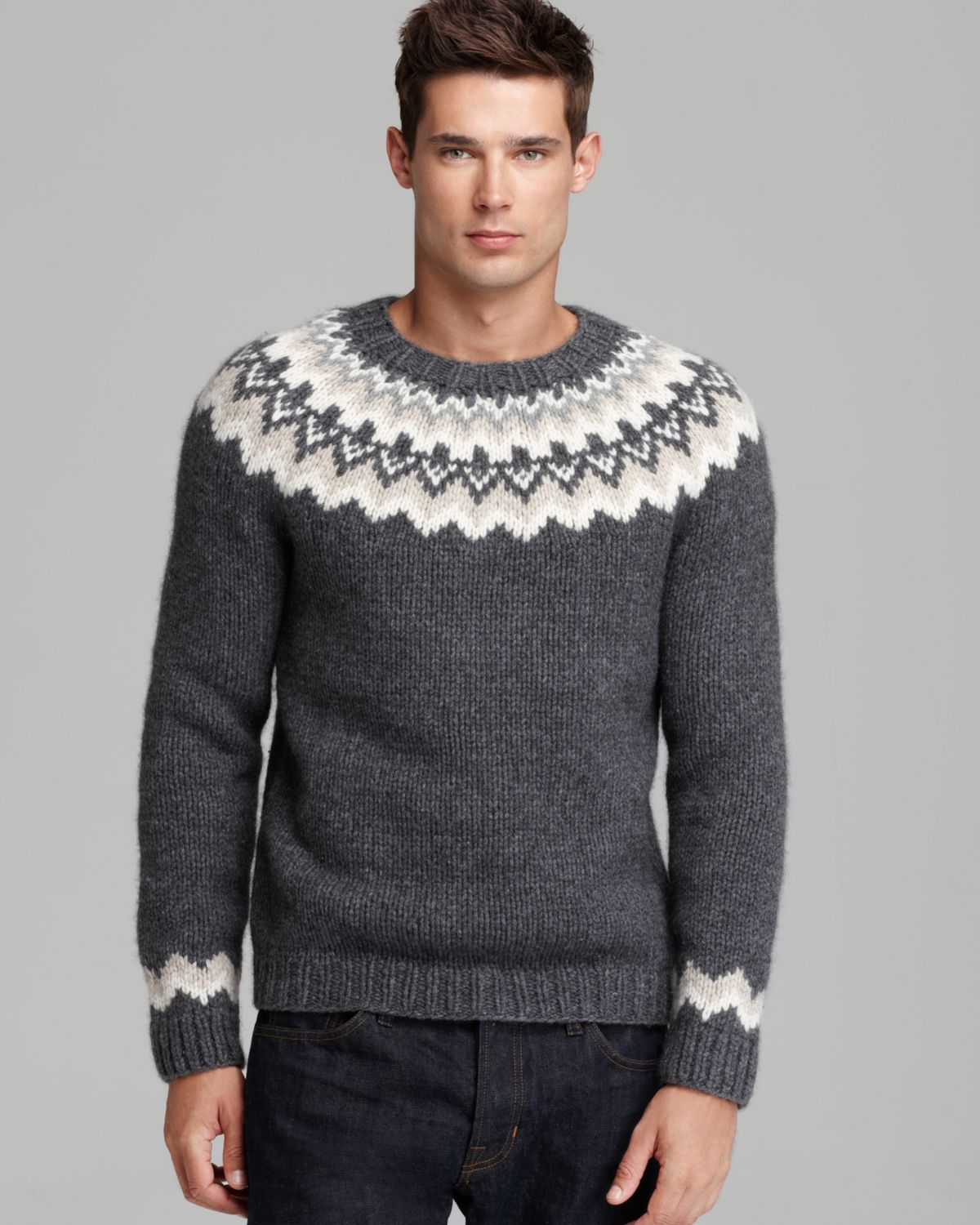 Vince Nordic Handknit Crewneck Sweater in Gray for Men Lyst