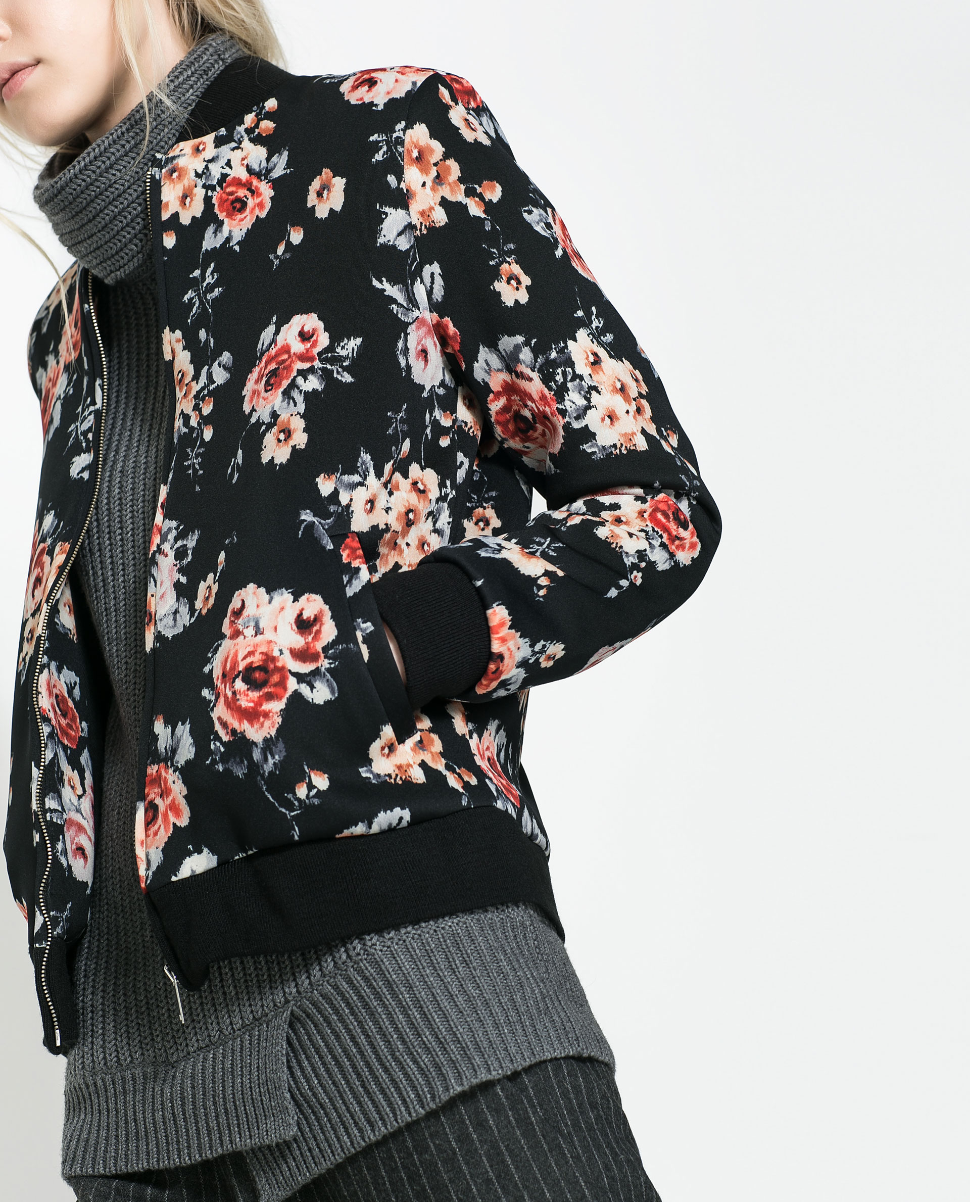 Black Floral Bomber Jacket ReJjEw