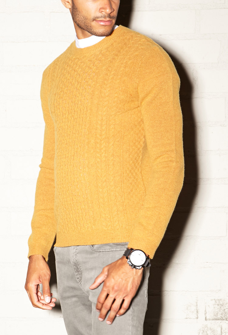 Forever 21 Crisp Cable Knit Sweater in Orange for Men | Lyst
