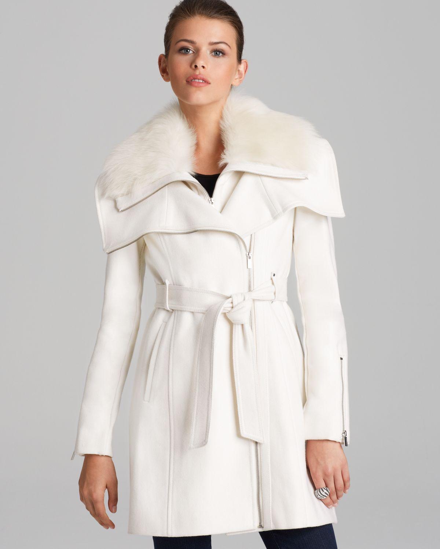 Bcbgmaxazria Coat - Asymmetric Belted Fur Collar in White | Lyst
