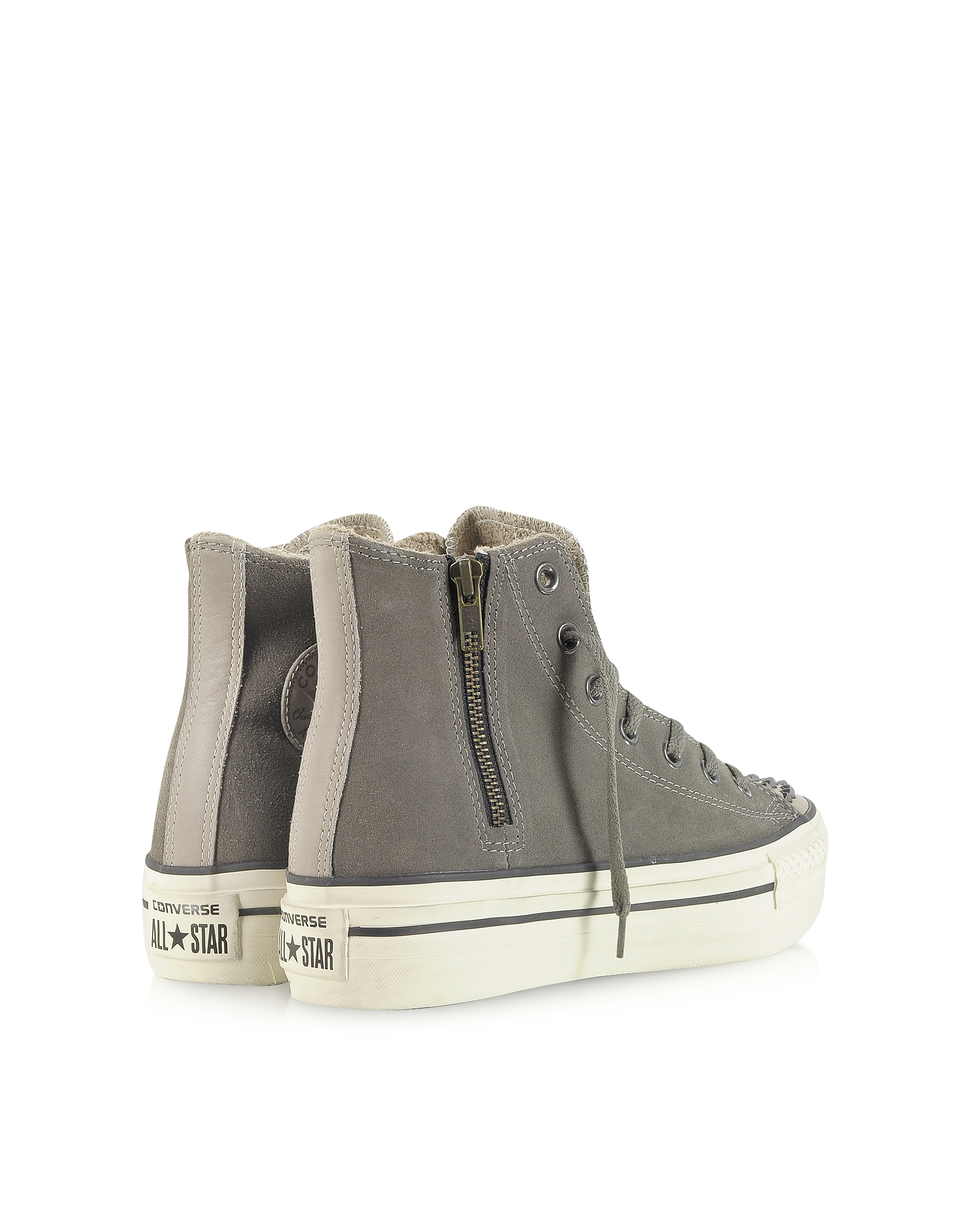 1b34a6fdf57c Lyst - Converse Ct Platform Zip   Stud Suede High Top Sneaker in Gray