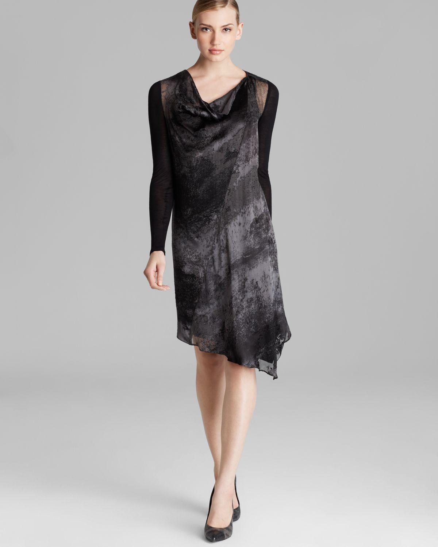 Asymmetric Drape Dress: Dkny Asymmetric Drape Neck Dress In Gray