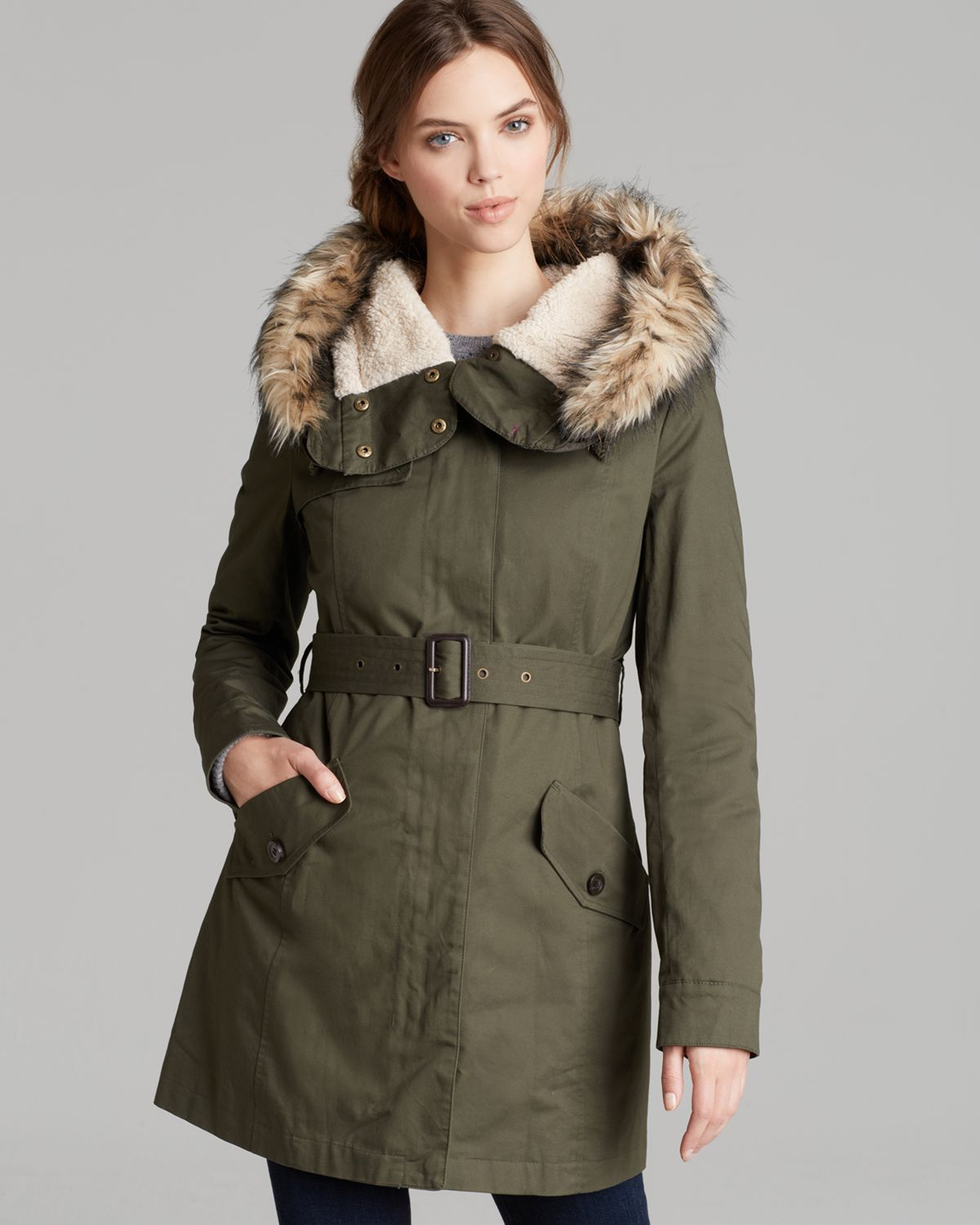 Dkny Coat Faux Fur Trimmed Hooded In Military Green