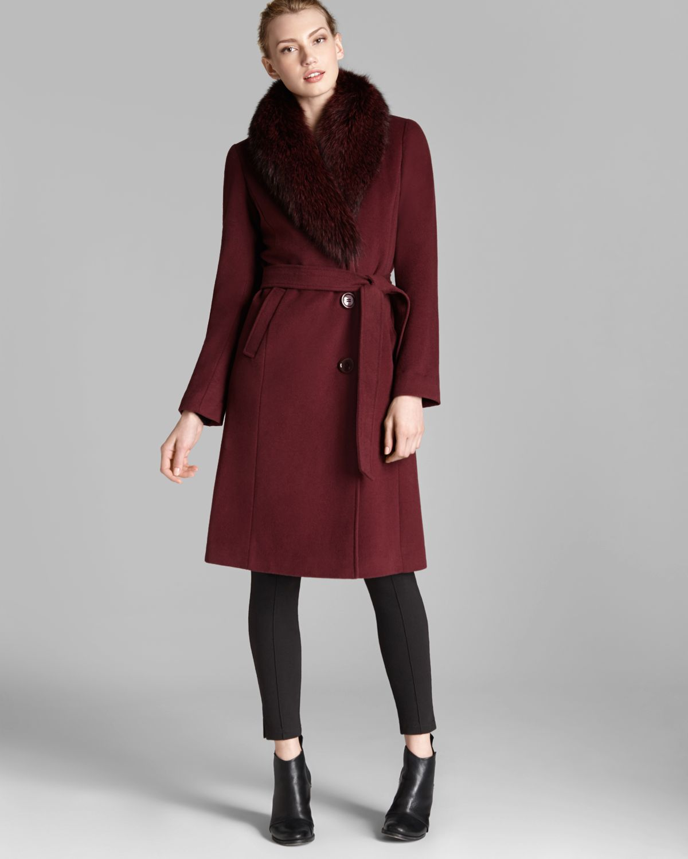 Lyst Ellen Tracy Coat Fox Fur Collar Belted In Red