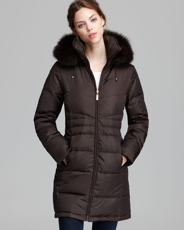 Ellen tracy Down Coat Modern Cire Fur Trim Hood in Brown | Lyst