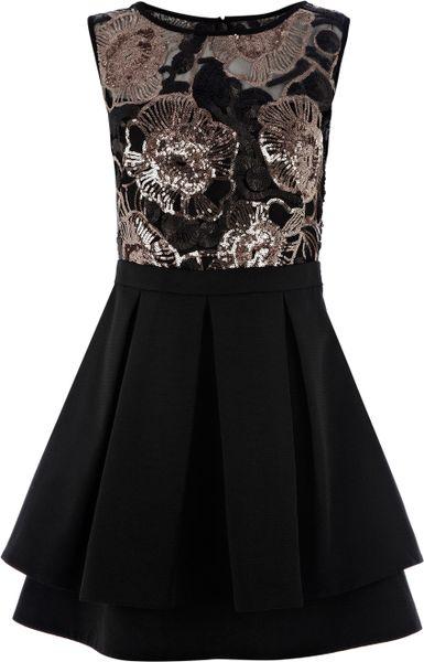 Karen Millen Floral Sequin Bodice Dress In Black Lyst
