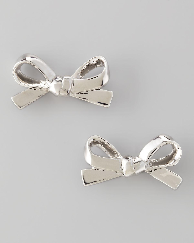 Mini Bow Stud Earrings Silver