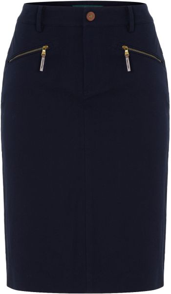 Lauren By Ralph Lauren Pencil Skirt With Zip Detail in Blue