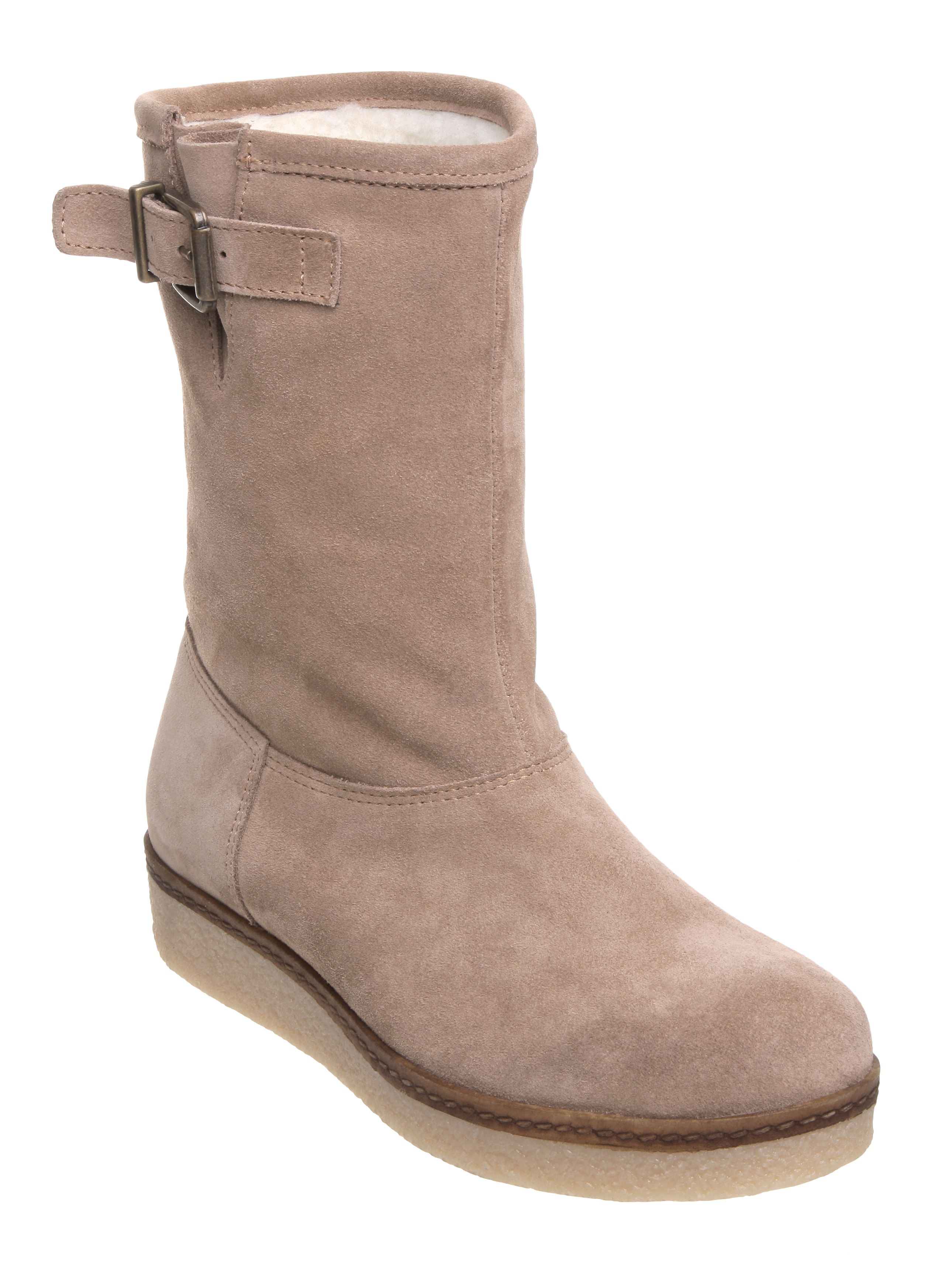linea owen l flat crepe ankle buckle boots in brown camel