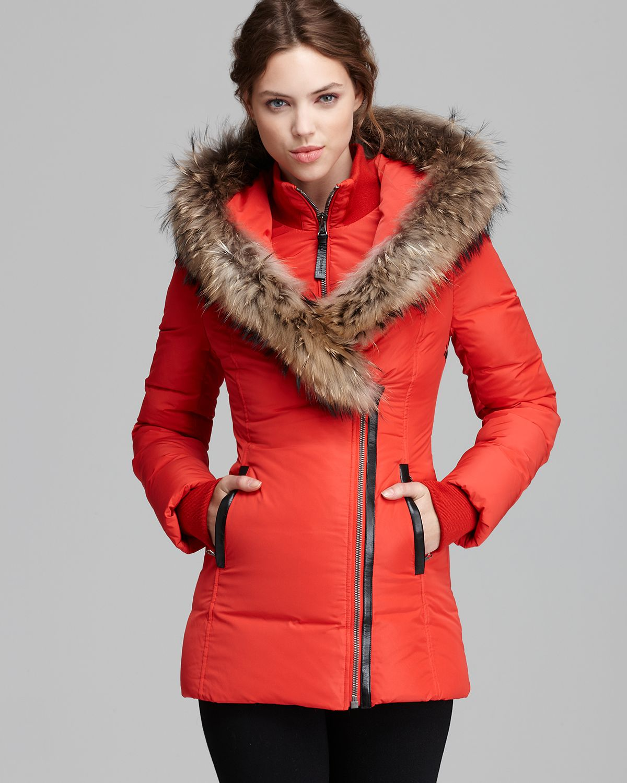 Mackage Down Coat Adali Lavish Fur Trim Hood in Pink | Lyst