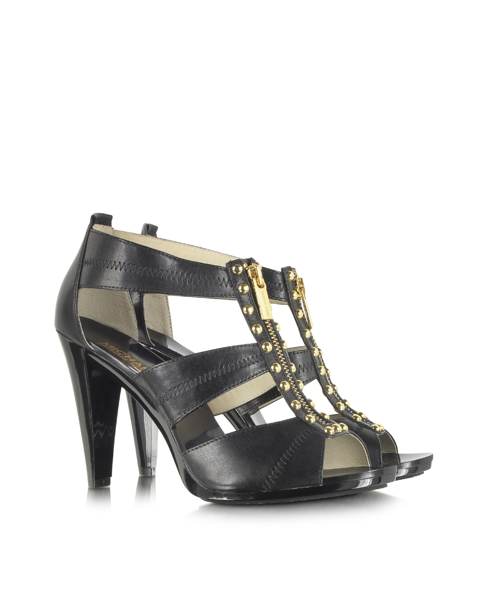 Michael Kors Linden Berkley T Strap Black Leather Sandal