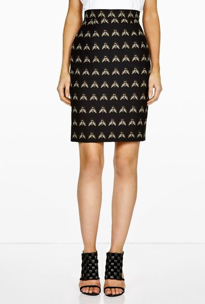 of pearl ursula cotton sateen tailored pencil skirt