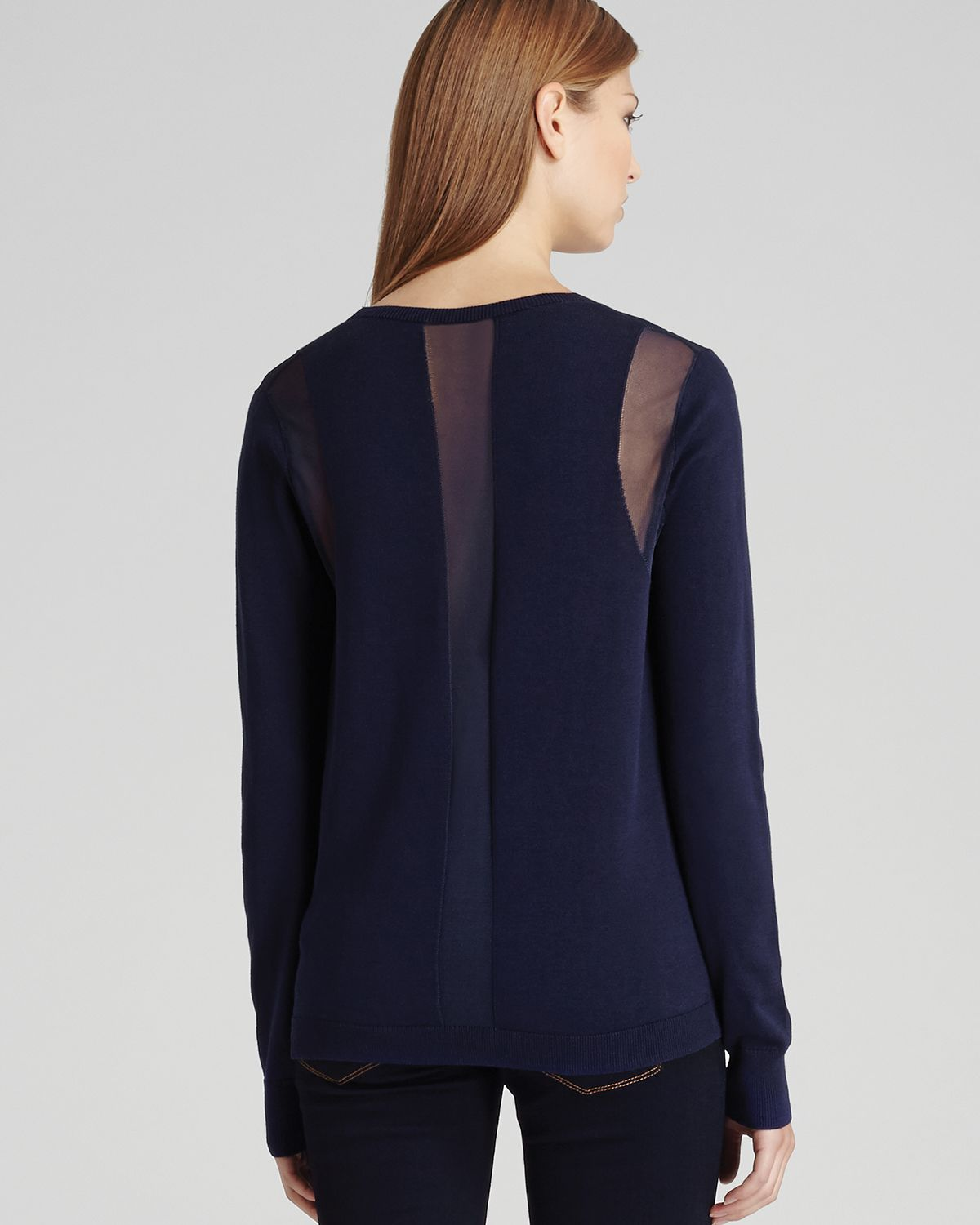 Reiss Cardigan Bebbington Sheer Detail in Blue | Lyst