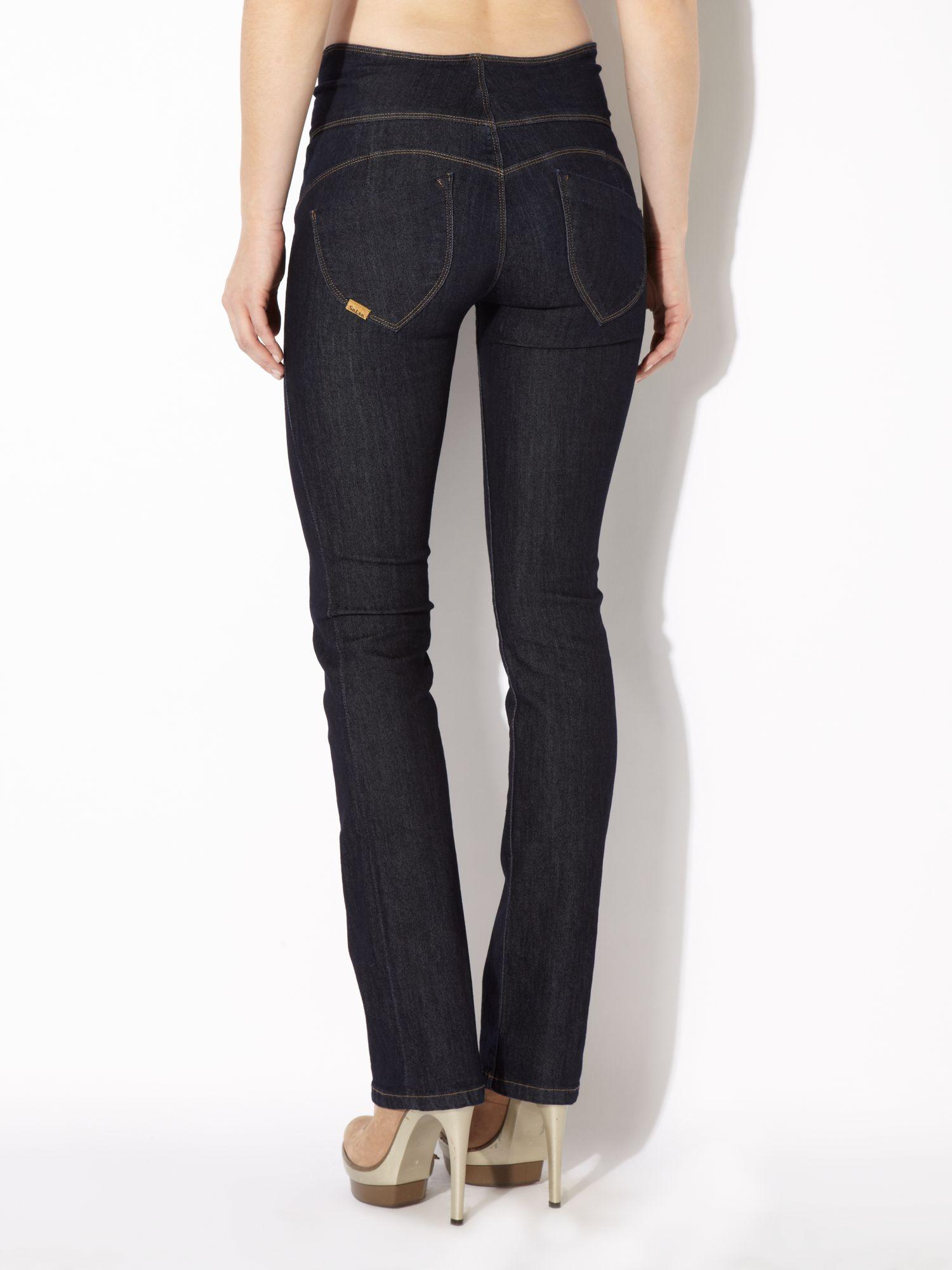 lyst salsa sculpture slim leg jeans in rinse in blue. Black Bedroom Furniture Sets. Home Design Ideas