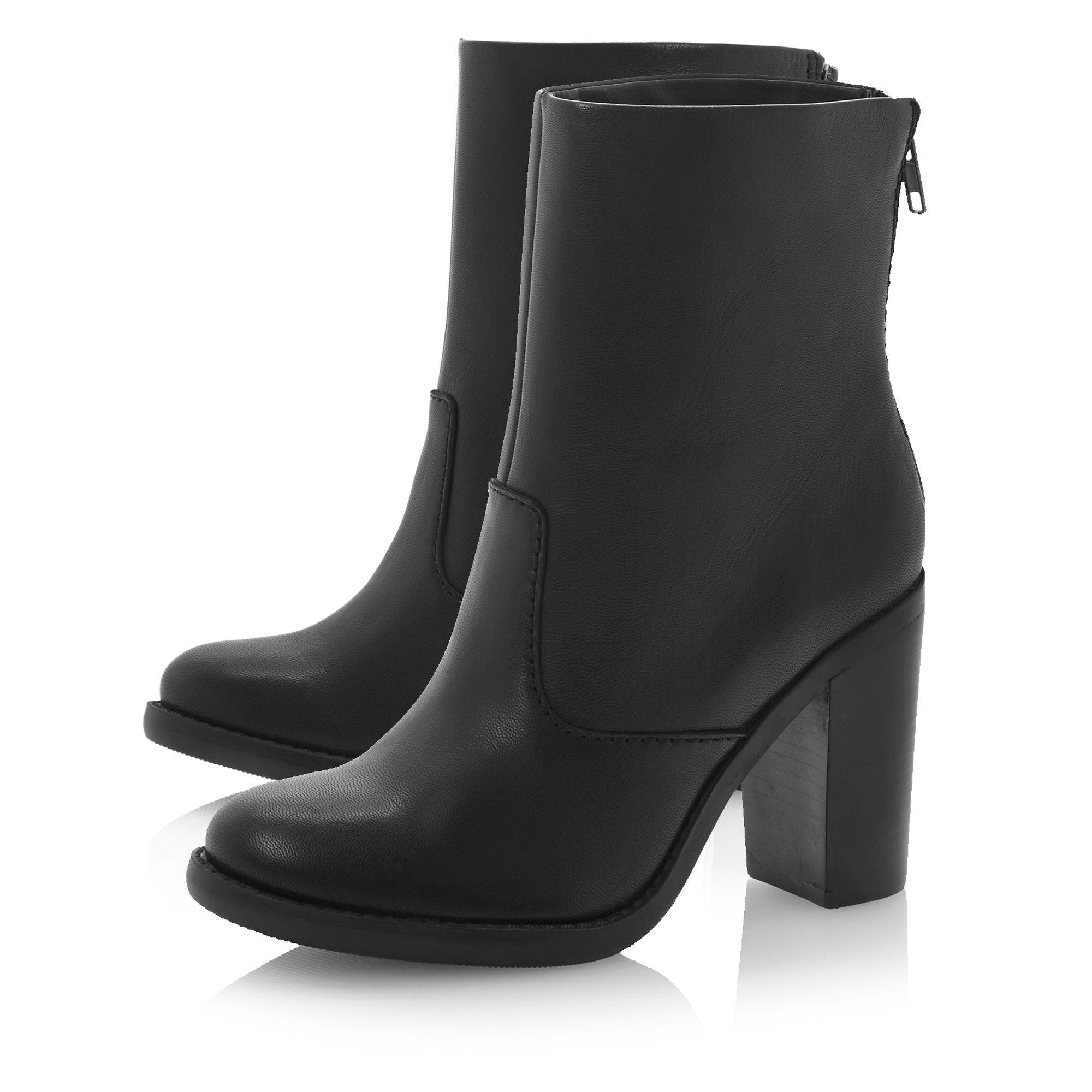 Steve Madden Sanjose Sm Leather Zip Back Boots in Black Leather (Black)