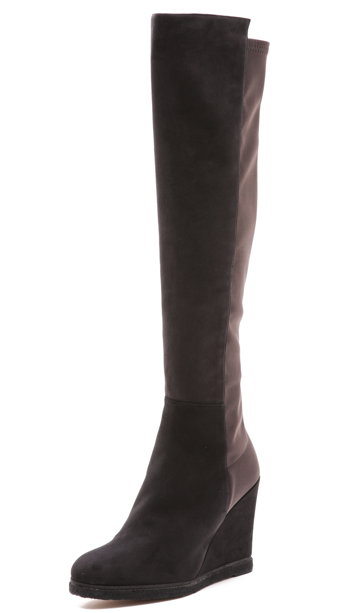 stuart weitzman demiswoon suede wedge boots in gray lyst