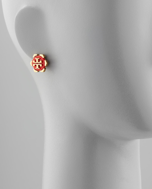 Tory Burch Walter Logo Stud Earrings Orange In Red Lyst