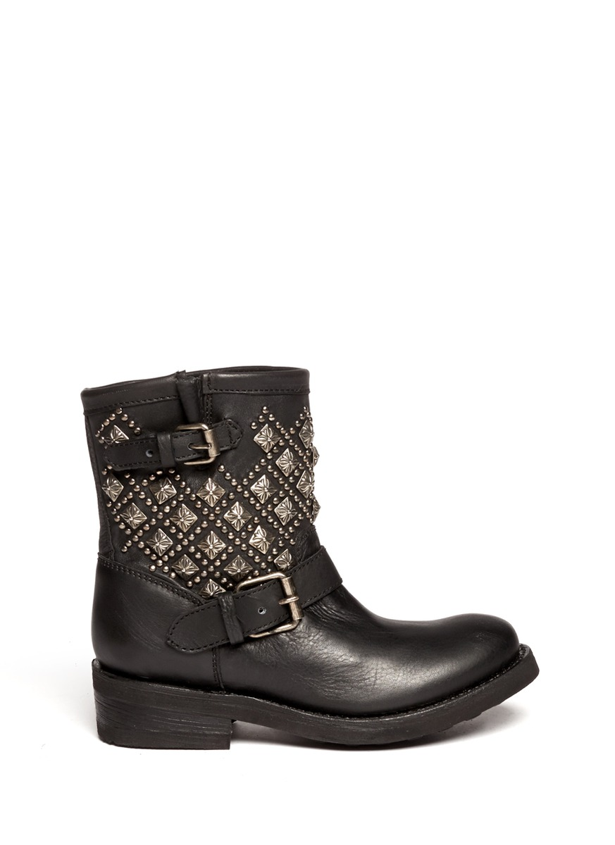 ash tsar studded leather boots in black lyst