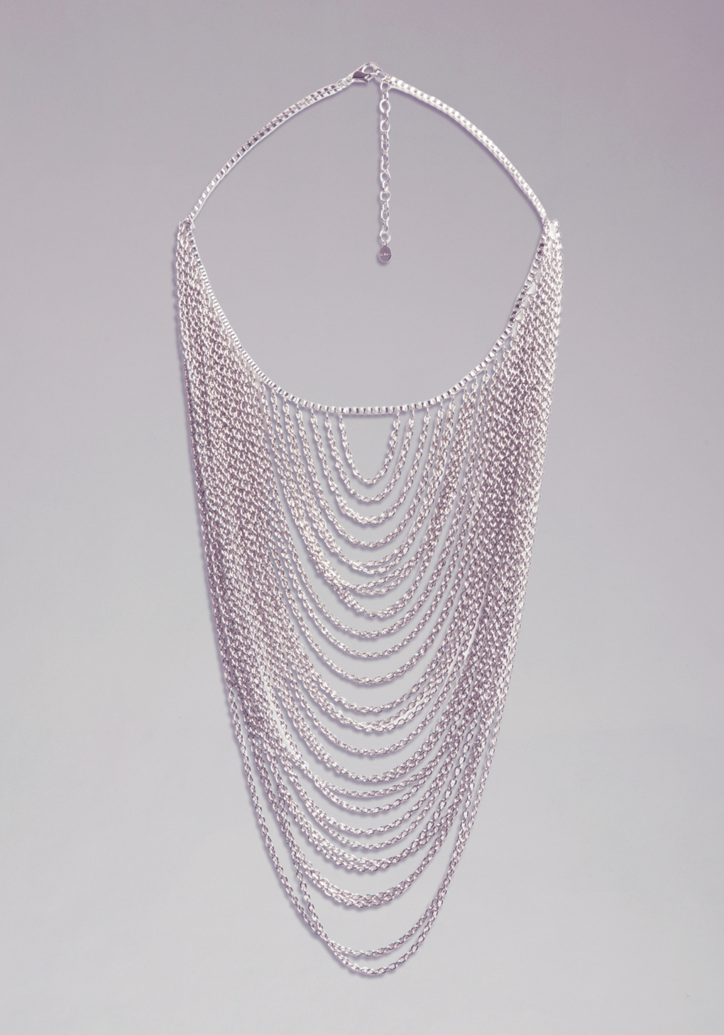 bebe box chain draped necklace in silver lyst