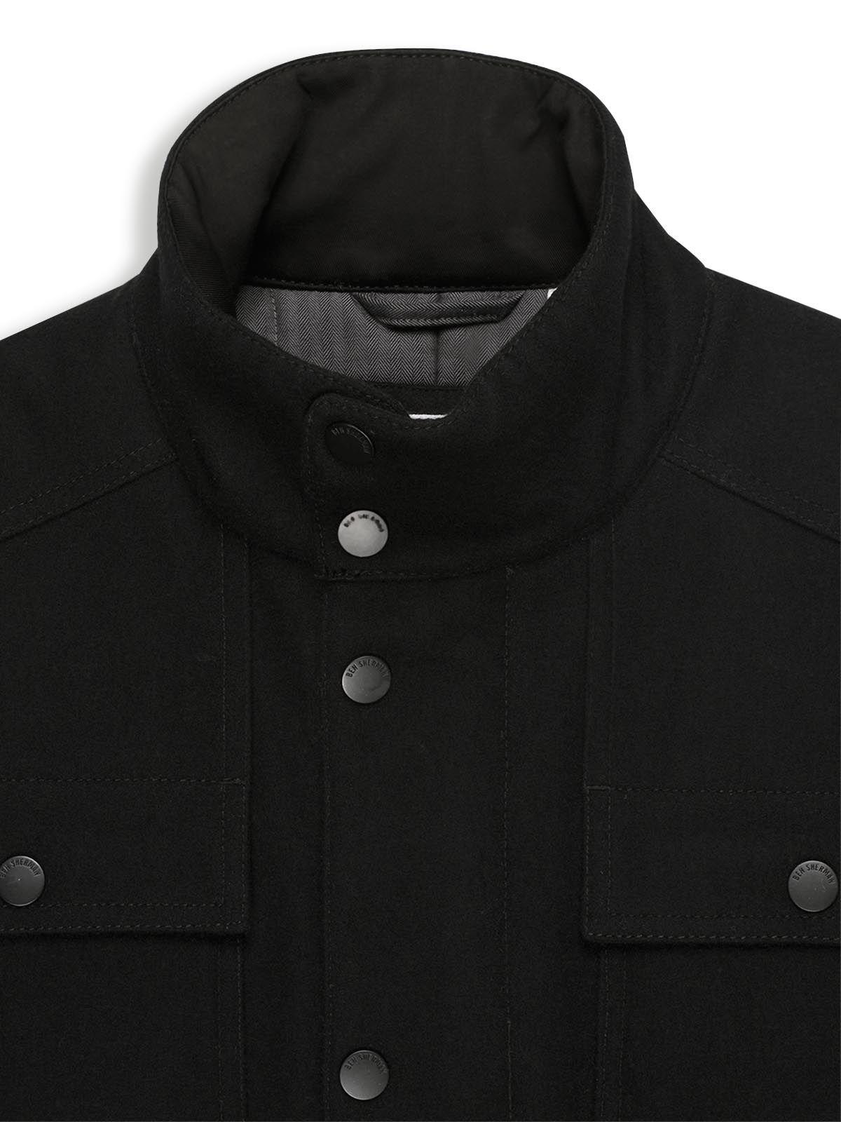 Ben Sherman Wool Melton Four Pocket Field Jacket in Black for Men